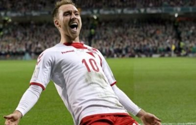 Tottenham midfielder scored a hat-trick as Denmark advanced to Russia
