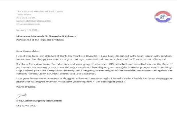 Carlos-Ahenkorah's letter
